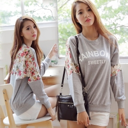 2013-women-shirt-loose-letter-Lace-stitching-Flower-Round-Neck-women-sweatshirt